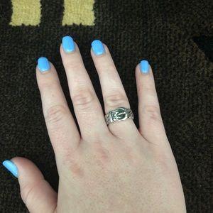 Floral Belt & Buckle Ring